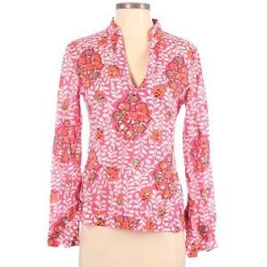 Tory Burch sequin mock collar V neck blouse